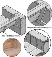 Hoekbank van steigerhout, bevestiging van de tuinbank zitting en de rugleuning.