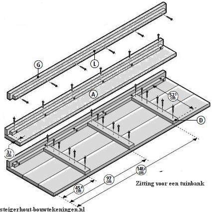 Tuinbank van steigerhout bouwtekening voor de bank zitting for Bouwtekening hoekbank