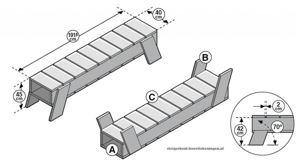 Maak zelf een houten bed voor in de tuin, ligbed van steigerplanken