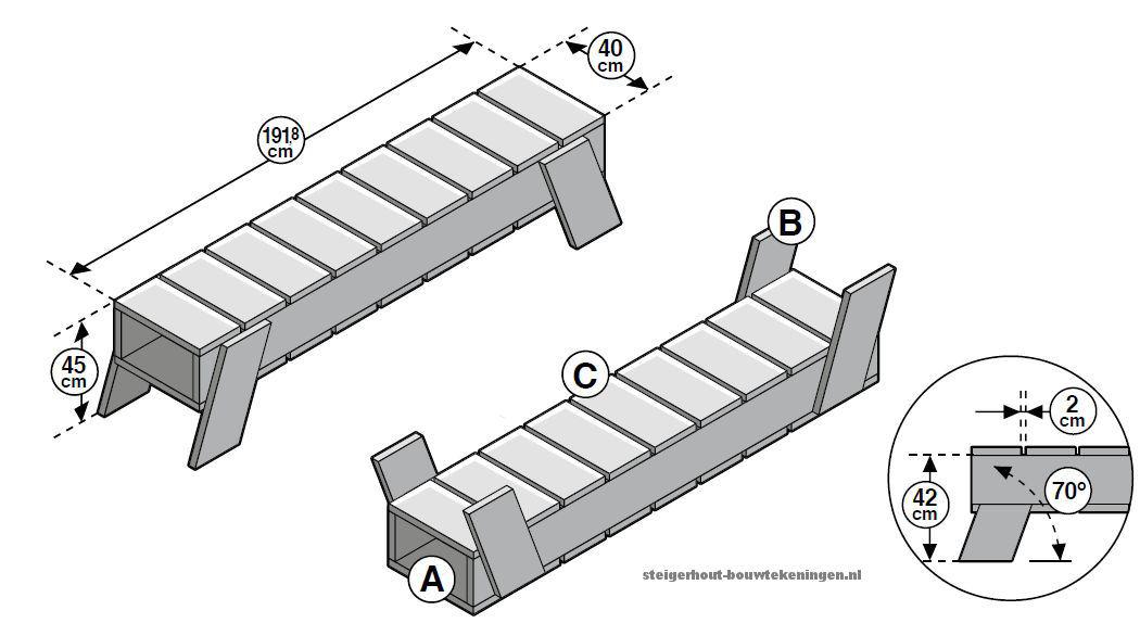 Deze houten bank is heel gemakkelijk zelf te maken met de bouwtekening als handleiding.