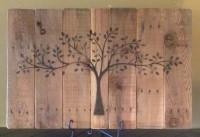 Boom geschilderd op pallethout.