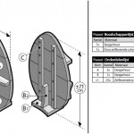 Losse onderdelen gemarkeerd op de gratis bouwtekeningen van Cando steigerhout.