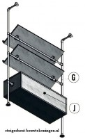 Tijdschriftenrek bouwtekening voor een wandmeubel van steigerbuis.