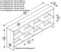 Gratis doe het zelf bouwtekening voor een vakkenkast televisiemeubel om zelf te maken.