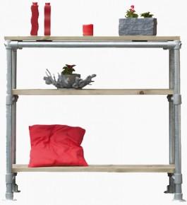 Steigerbuis meubelen om zelf te maken tafels en barkrukken for Steigerhouten tafel met steigerbuizen zelf maken