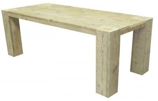 Tafel van nieuw steigerhout voorbeeld met gratis bouwtekening Steigerhouten tafel met steigerbuizen zelf maken