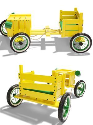 Speelgoedauto van een krat gemaakt, zeepkist auto.